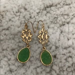 Gold with Green Stone Drop Earrings